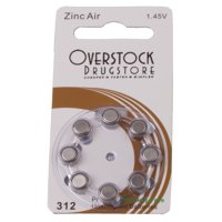 Hearing Aid Batteries Size 312 Zinc Air, 80 Batteries (1 Box) (Pack of 16)