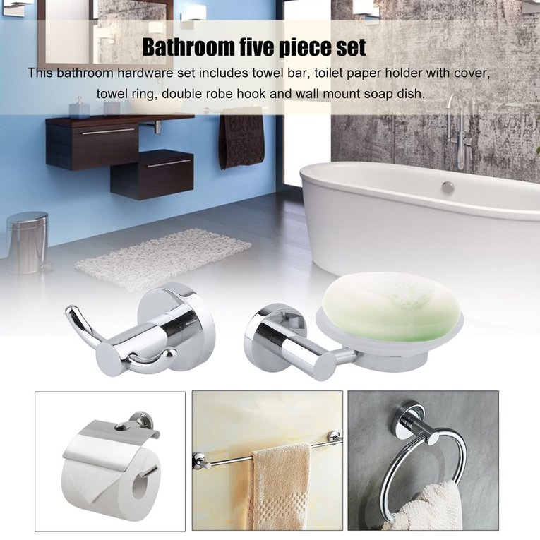 5 PCS Bathroom Hardware Set Towel Bar Toilet Paper Holder With Cover Towel Ring Double Robe Hook Wall Mount Soap Dish by Turdy