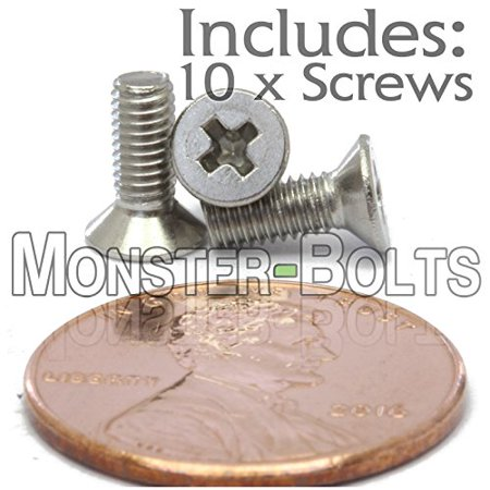 (10) M3-0.5 x 8mm - Phillips Flat Head Machine Screw (Countersunk) Stainless Steel A2/18-8 Cross Recessed Type H Metric DIN 965 - MonsterBolts (10, M3 x 8mm) ()