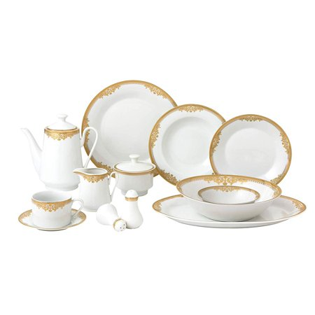 - Royalty Porcelain Vintage Floral Gold 49-pc Dinnerware Set 'Venezia', Premium Bone China