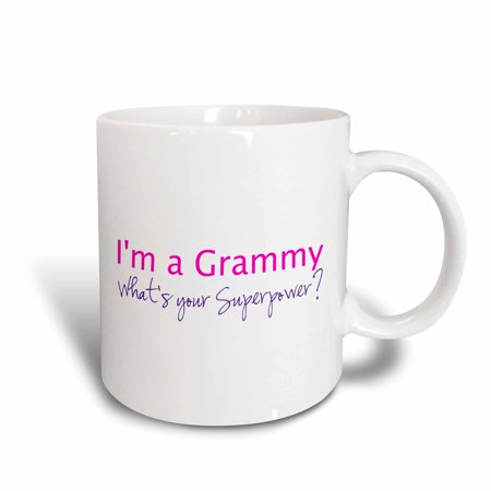 3dRose Im a Grammy - Whats your Superpower - pink - funny gift for grandma, Ceramic Mug, 15-ounce ()