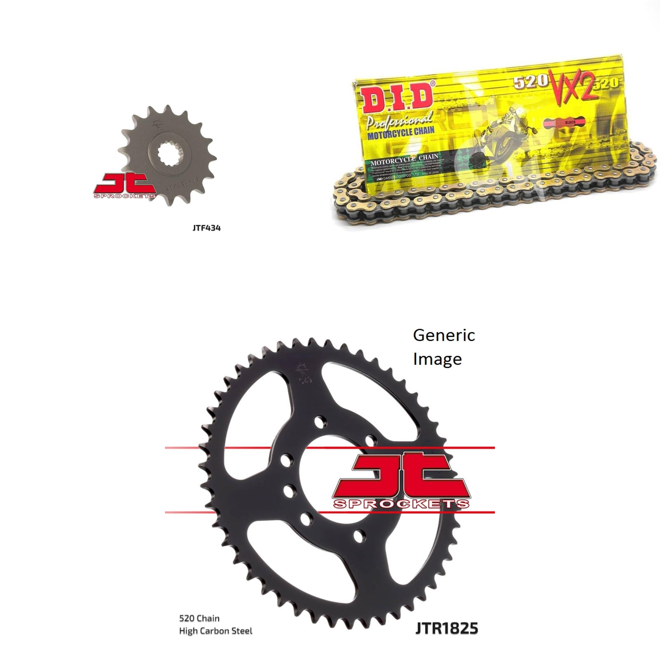 DID 520VX2 Pro-Street X-Ring Chain Natural, JT Front & Rear Sprocket Kit for Street SUZUKI GN400X 1980-1981