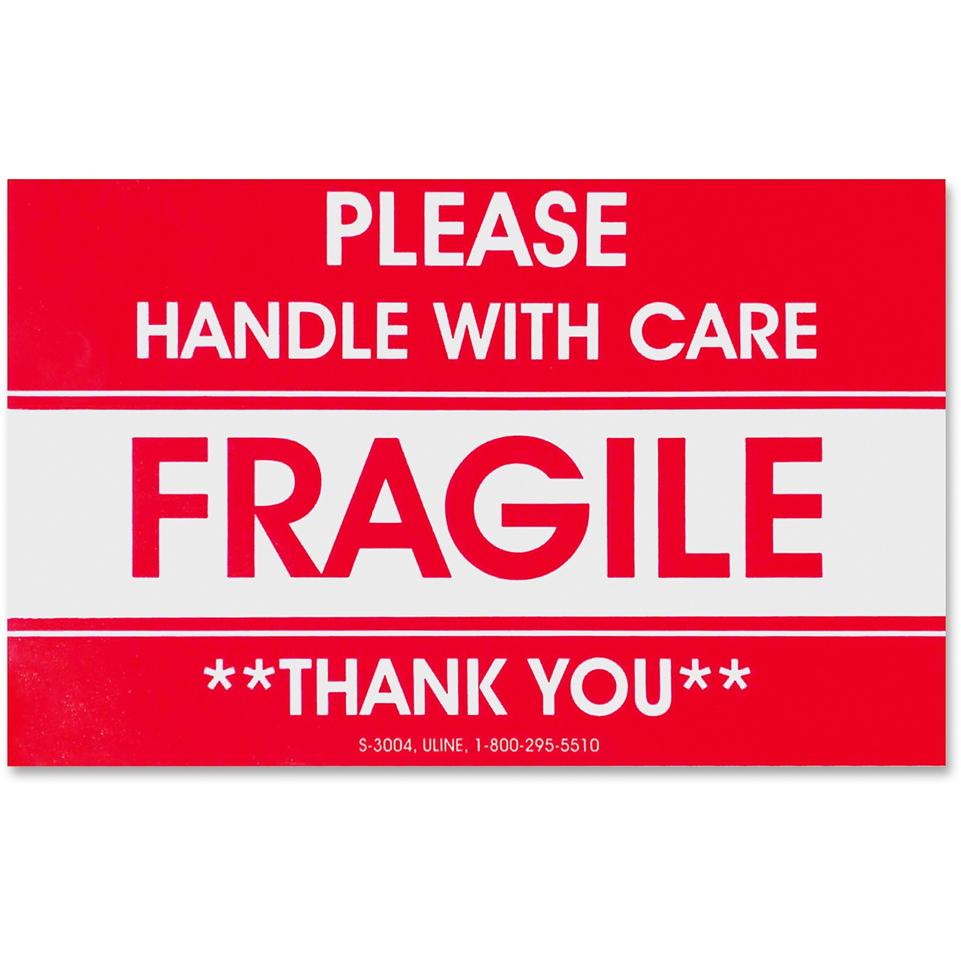 Tatco, TCO10951, Fragile/Handle With Care Shipping Label, 500 / Roll, Red