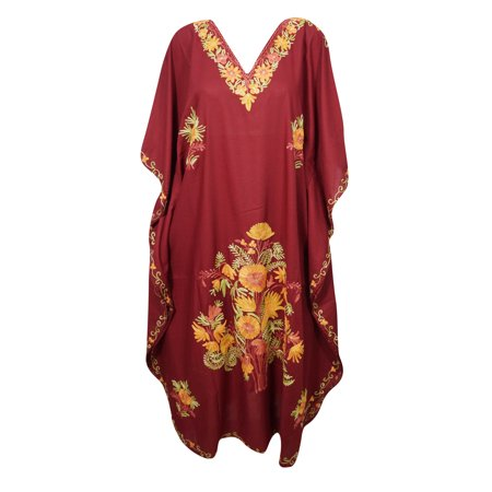 Mogul Embellished Floral Maxi Caftan Cover Up Stylish Resort Wear Beautiful V Neck Long Evening Dress