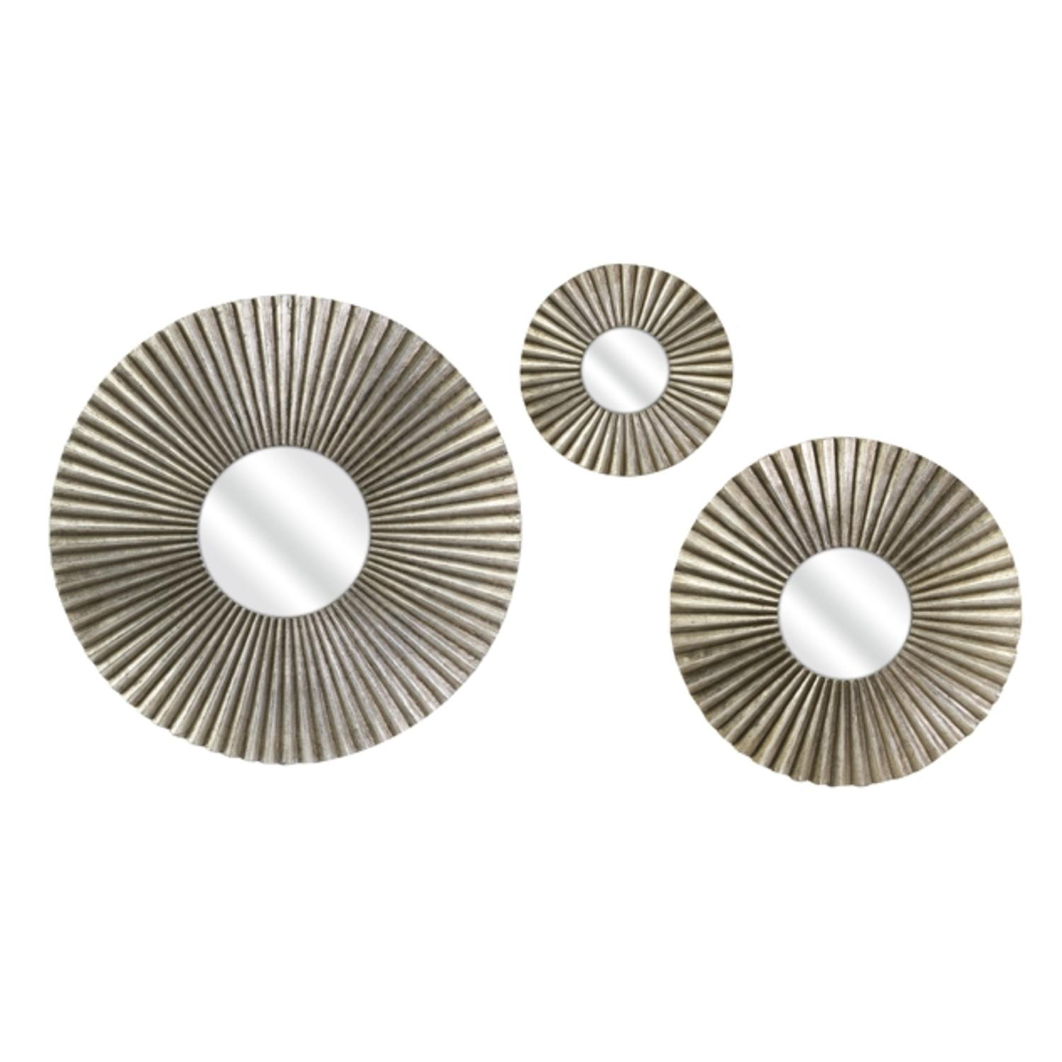 """Set of 3 Accordian Pleated Metal Frame Round Wall Mirrors 24"""""""