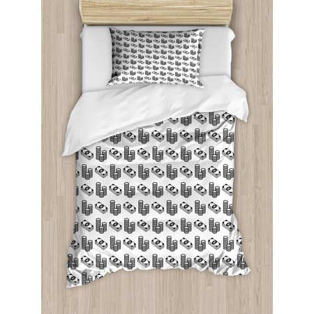 Money Twin Size Duvet Cover Set, Monochrome Stacked Coins and Dollar Bills Simple Doodle Style Economy Themed Pattern, Decorative 2 Piece Bedding Set with 1 Pillow Sham, Black White, by Ambesonne