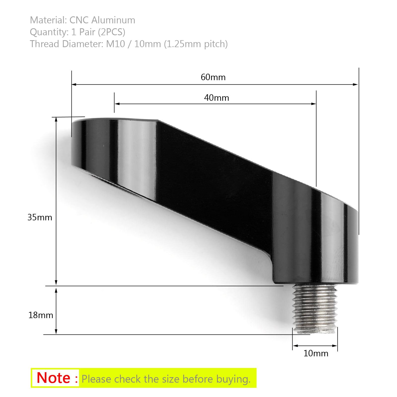 Black 10mm CNC Motorcycle Mirror Mount Riser Extender Adapter M10 Universal