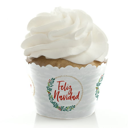 Feliz Navidad - Holiday Spanish Christmas Party Decorations - Party Cupcake Wrappers - Set of 12 (Napkin Wrappers)