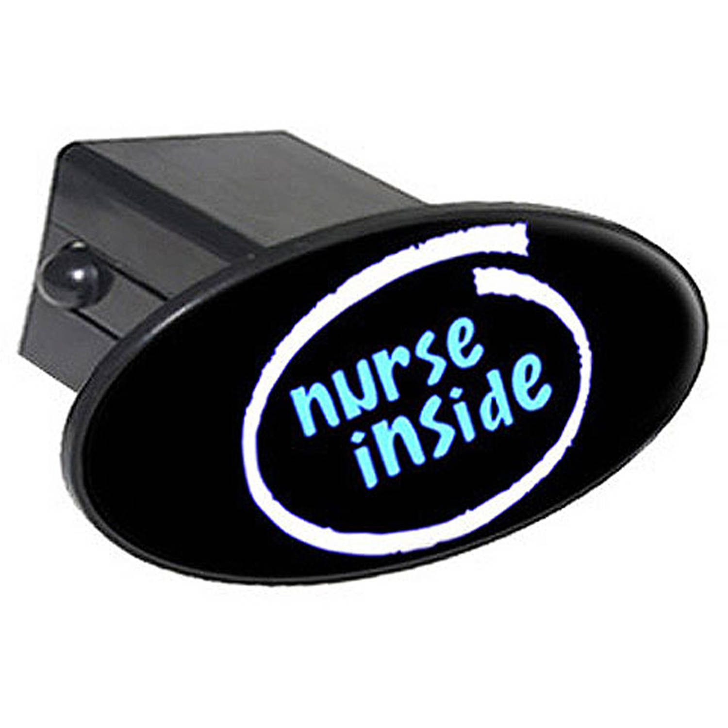 "Nurse Inside 2"" Oval Tow Trailer Hitch Cover Plug Insert"