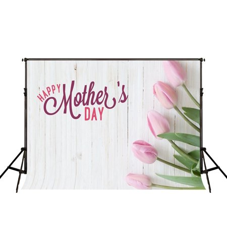 GreenDecor Polyster 7x5ft Happy Mothers Day Photography Backdrop White Wood Wall Photo Background Flowers Photography Props Kids - Diy Photography Props