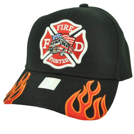 Fire Fighter Department Flames Rescue Dept Adjustable Black Hat Cap Fireman - Fireman Hat