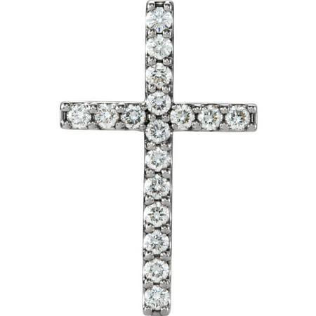 Platinum 1/2 Ct Diamond Petite Cross Pendant