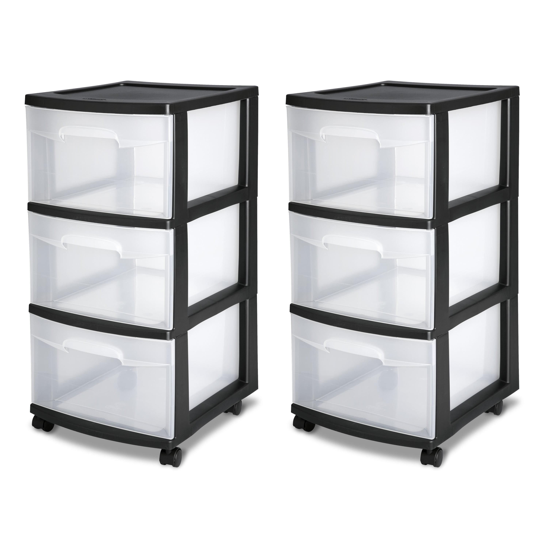 Sterilite 3 Drawer Plastic Storage Cart Set of 2 Rolling Wheels Clear Dresser