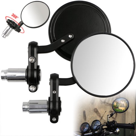 "TSV Round 7/8"" Handle Bar Motorcycle Side Mirrors for Harley Davidson Yamaha Sports, One Pair"