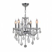 "Worldwide Lighting W83119C18-AM Chrome Catherine 4 Light 1 Tier 18"" Chrome Chandelier"