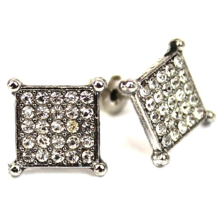 Micro Pave Square Silver Stud Earrings 10 mm Men Women Unisex