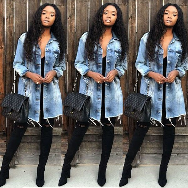 ladies spring coats : Women Vintage Ripped Denim Long Coat Ladies Spring And Autumn Long Sleeve Casual Jeans Jacket S-3Xl