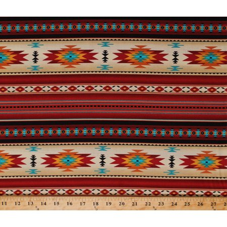 Southwest Terra Cotta - Cotton Southwestern Stripes Southwest Tribal Red Gold Turquoise Tucson Stripes Terracotta Cotton Fabric Print by the Yard (201-TERRACOTTA)