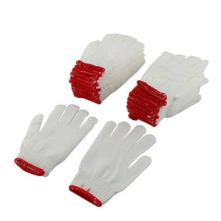 Cotton Slip Gloves (Construction Cotton Blends Non Slip Knitted Working Gloves White 12 Pairs )