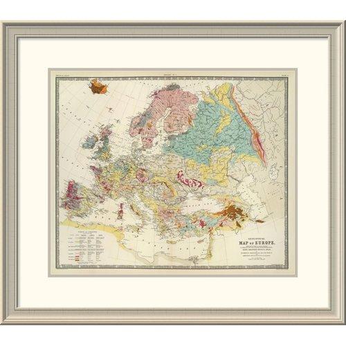 Global Gallery Geological Map Europe 1856 Framed Print Walmart Com