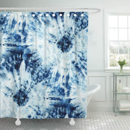 Pknmt Tie Dye Of Indigo Color On White Silk Hand Painting