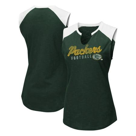 Green Bay Packers Majestic Women's V-Notch Muscle Tank Top - Green/White
