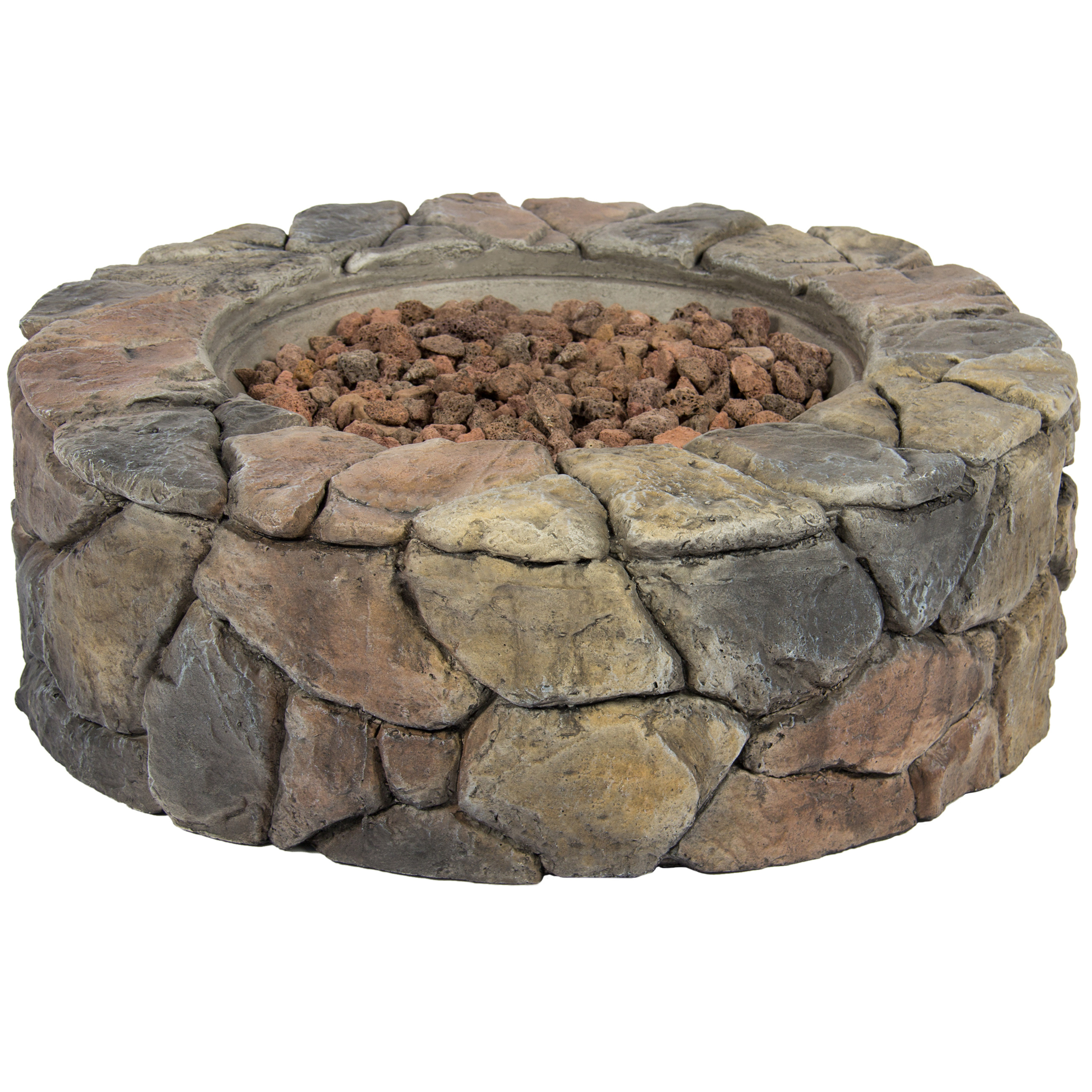 Outdoor Patio Natural Stone Gas Fire Pit For Backyard With