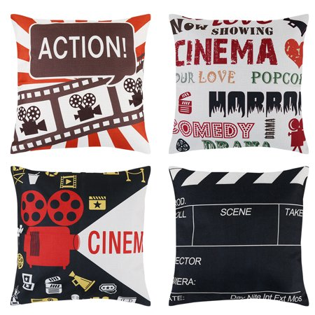 4-Pack Decorative Throw Pillows,  18''* 18'' Movie Theater Throw Pillow Cover Set Decorative Cushion Cases Square Pillowcases with Cinema Poster Design, Hidden Zipper (Decorative Pillows Theater)