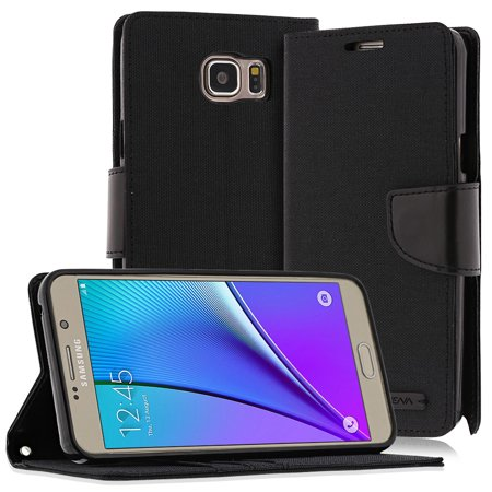 Galaxy Note 5 Case Wallet Case - Vena [vCanvas] PU Wallet Flip Cover with Stand and Card Pockets for Samsung Galaxy Note 5 - Black /