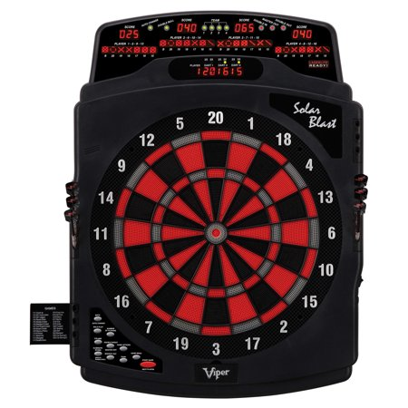 Viper Solar Blast Electronic Dartboard Deluxe Size Over 55 Games Overhead 4-Panel Auto-Scoring LCD Cricket Display with Impact-Tough Nylon Target for Lasting Durability Fewer Bounce Outs with Darts -  42-1021