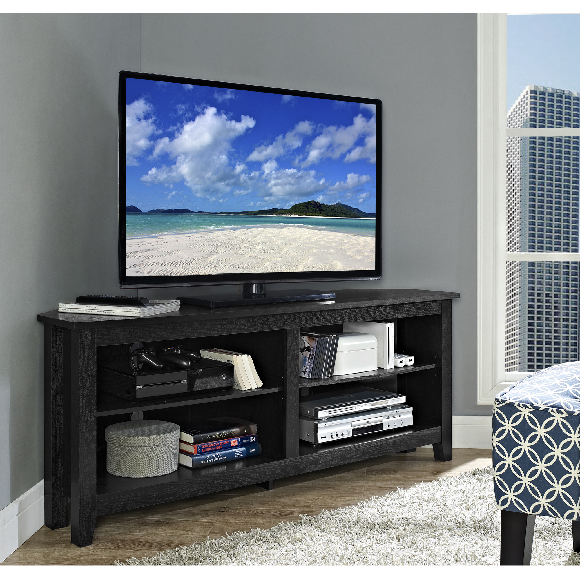 """Corner Media Storage Console for TV's up to 60"""", Multiple Colors"""