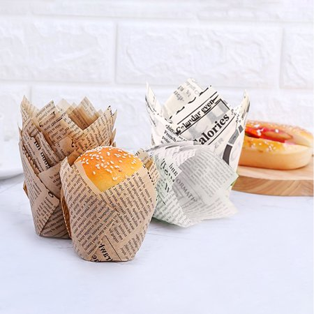 Chainplus Tulip Baking Cups Tulip Cupcake Liners Paper Muffin Cups for Baking, Brown and White, (150 Count, 75Pcs of Each Color) - image 3 of 7