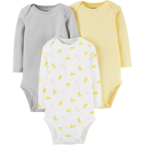 Child of Mine by Carter's Newborn Baby Neutral Long Sleeve Basic 3 Pack Bodysuit