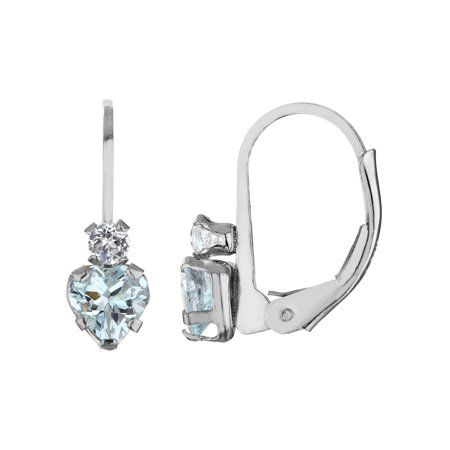 Aquamarine Heart Earrings with Created White Sapphire 1.0 Carat (ctw) in Sterling Silver
