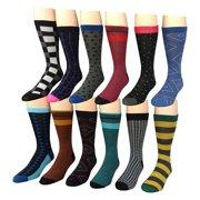 12 Pairs of Excell Mens Dress Socks, Designer Dress Socks for Men (3400)