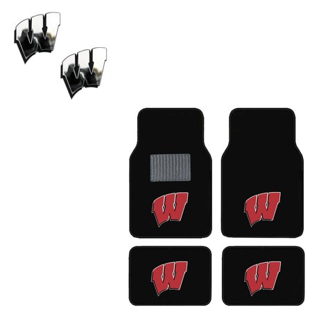 Wisconsin Badgers 4 Pc Carpet Floor Mats And 2 Chrome Emblems