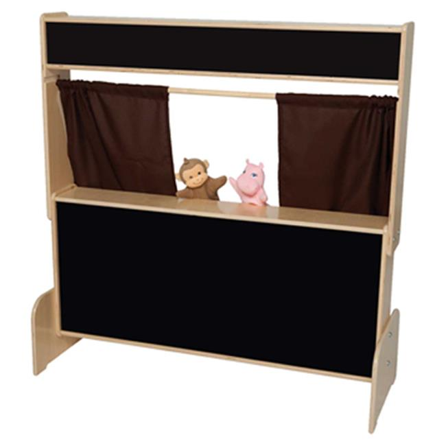 Wood Designs 21652BN Flannelboard Puppet Theater With Brown Curtains