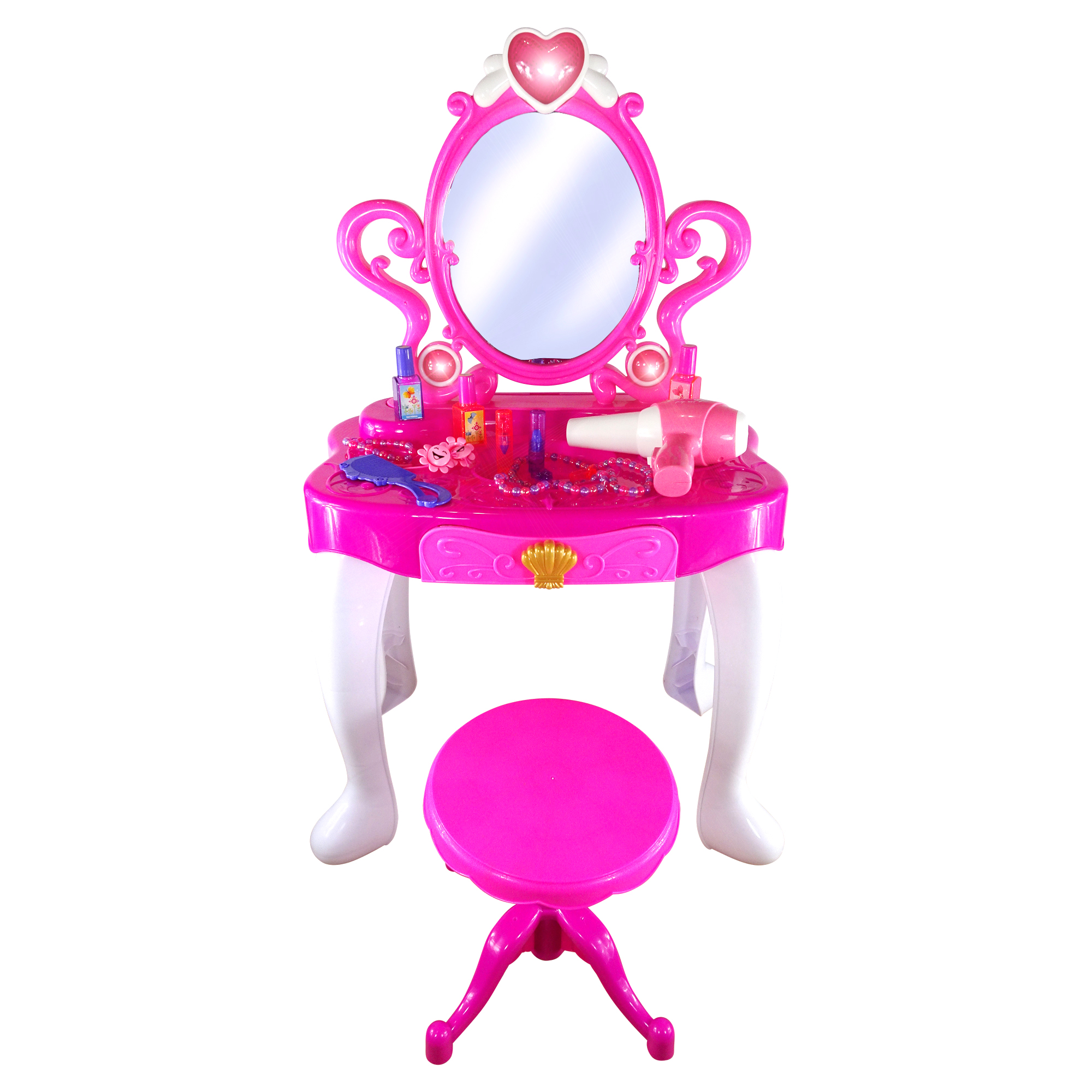 Toy Vanity Table Play Set Little Girls Dream Beauty Mirror Play Set