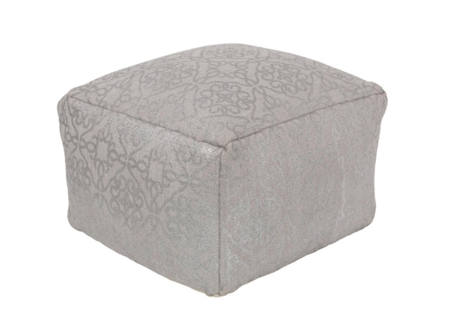 "20""Pewter and Metallic Gray Upholstered Woven Foot Stool Ottoman by Diva At Home"