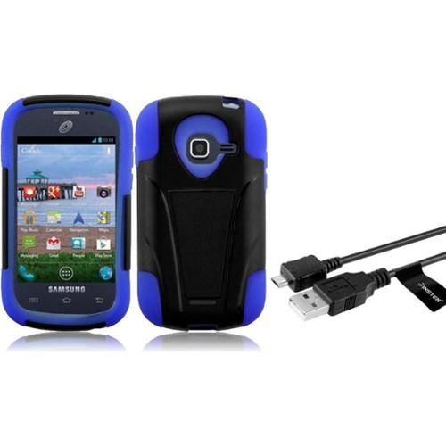 Insten For Samsung Galaxy Centura S738C S730G Discover Hybrid Hard Case w/ Stand - Black +Dark Blue (+ Micro USB cable)