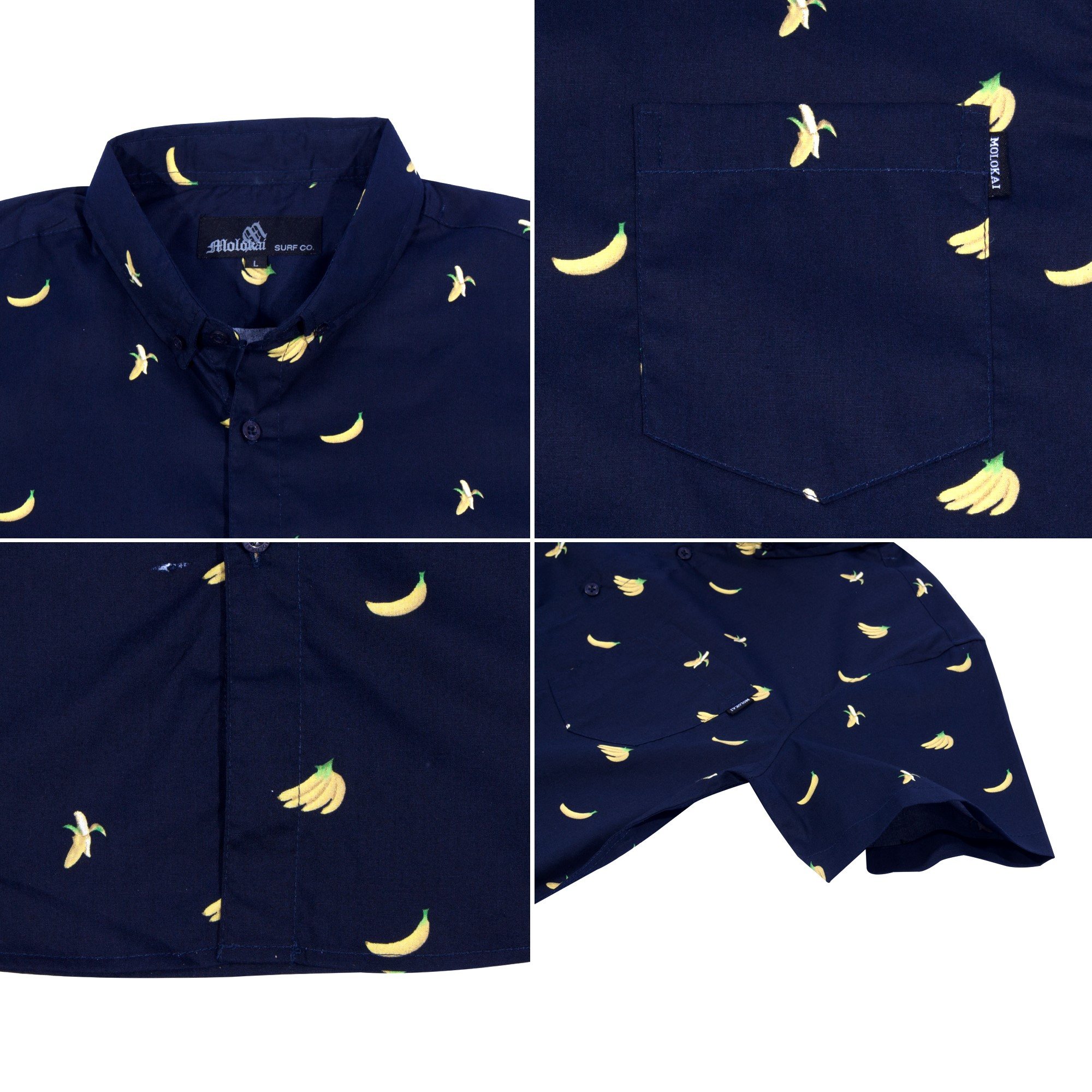 e7345820 Molokai - Molokai Mens Banana Print Short Sleeve Button Down Hawaiian Shirt  -Banana -L - Walmart.com