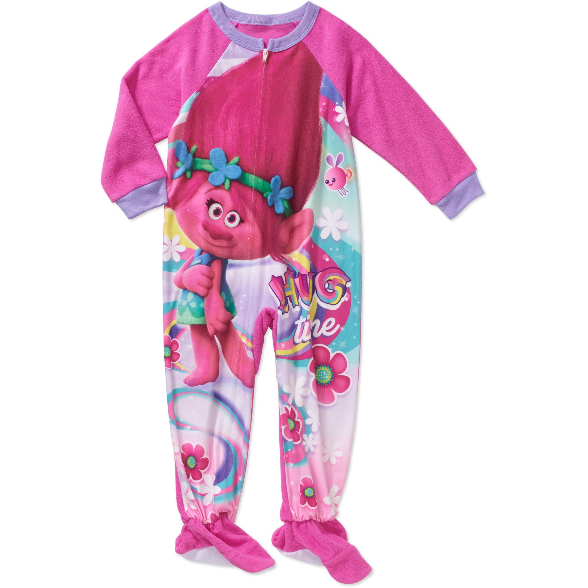 Trolls Toddler Girl Hug Time Micro Fleece Footed PJ