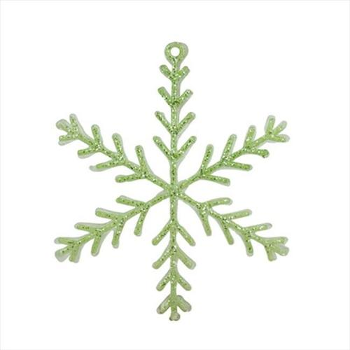 NorthLight 8. 75 inch Pastel Dreams Soft Green Glittered Snowflake Christmas Ornament