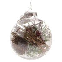 Holiday Time Clear Ball w/pinecone Orn