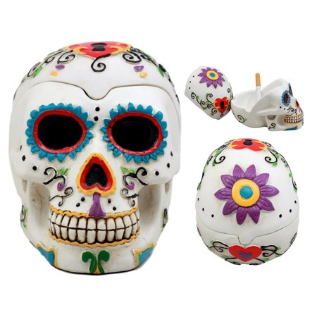 Ebros El Diablo Day of The Dead White Sugar Skull Ashtray Tribal Tattoo Skull Figurine 5