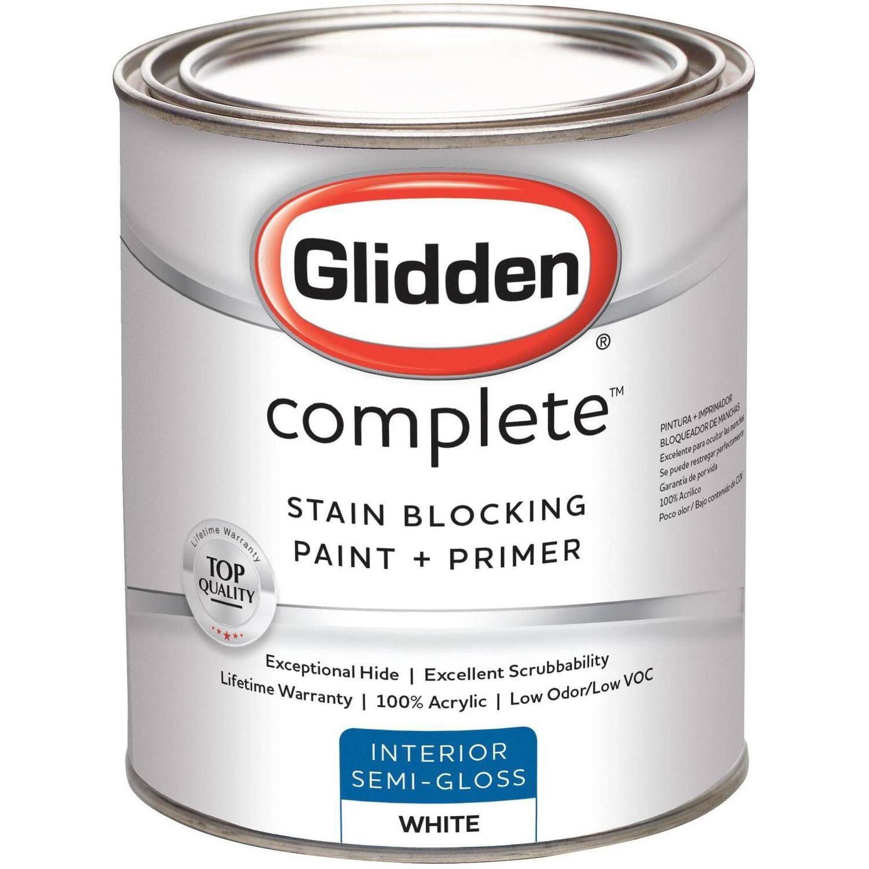 Glidden Complete, Interior Paint, Semi-Gloss Finish, Ready Mix White, 1 Quart