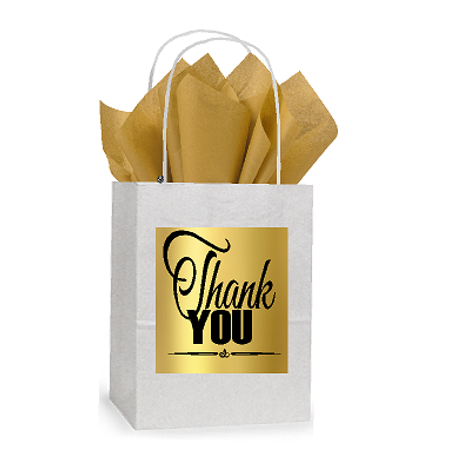 Thank You White and Gold Themed Small Party Favor Gift Bags Stickers Tags -12pack - Good Party Themes