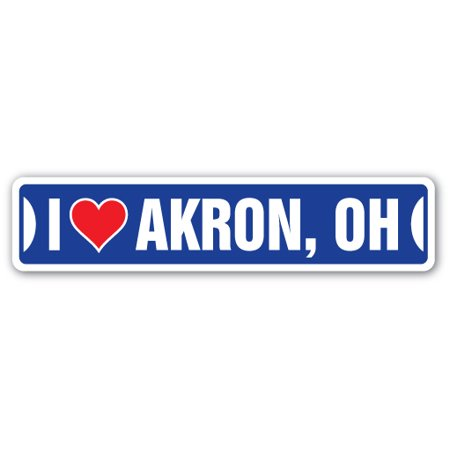 I LOVE AKRON, OHIO Street Sign oh city state us wall road décor gift](Halloween Stores In Akron Ohio)