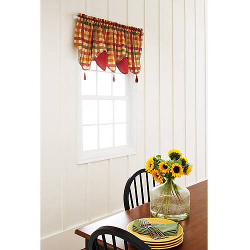 Better Homes and Gardens Red Check Tier, Valance, or Swag Valance by