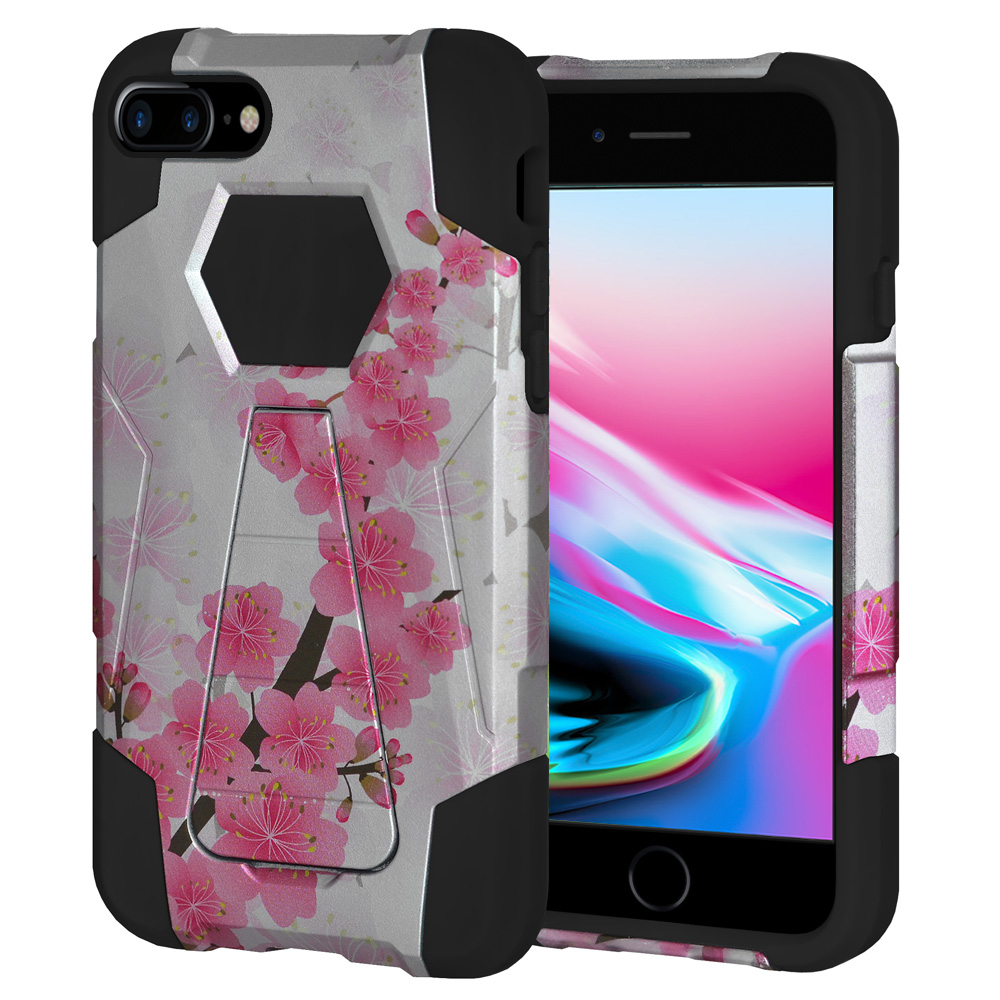 iPhone 8 Plus Case, Premium Designer Slim Fit Dual Layer Case ShockProof Back Cover with Kickstand for Apple iPhone 8 Plus 5.5 Inch - Sakura Cherry Blossom Exotic Floral